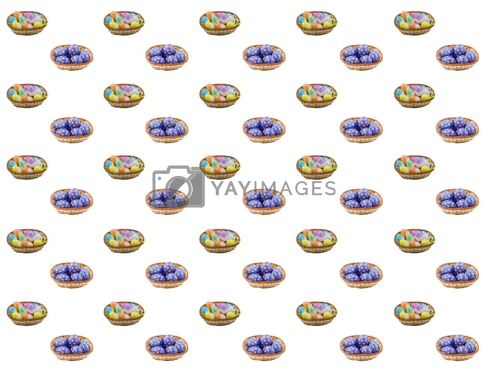 baskets of colourful easter eggs suitable as a background