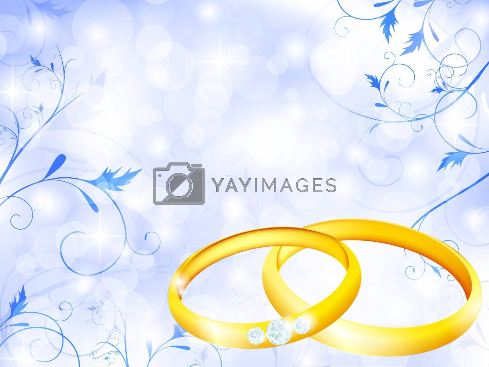 floral wedding theme with golden rings and copyspace