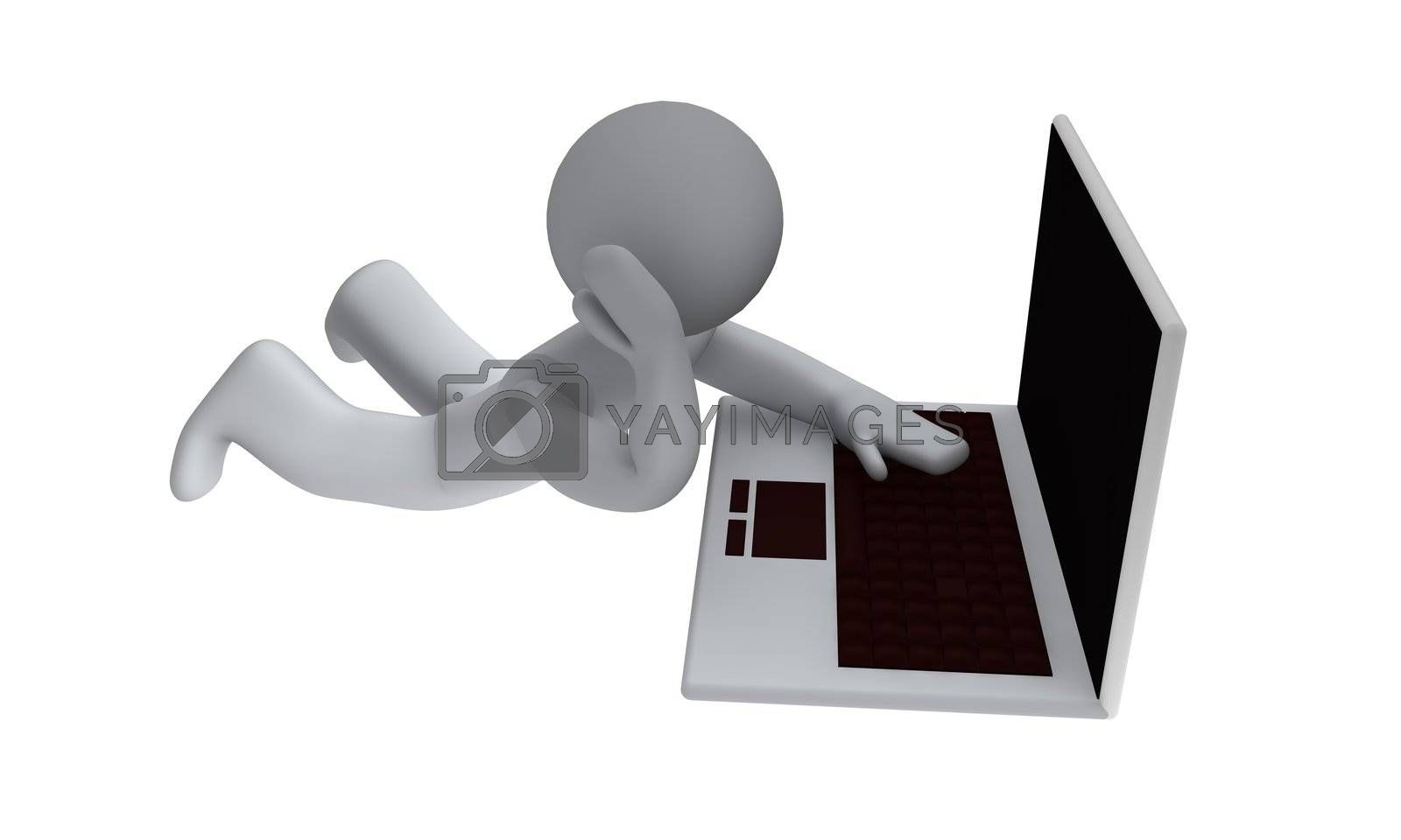 People with laptop on white background