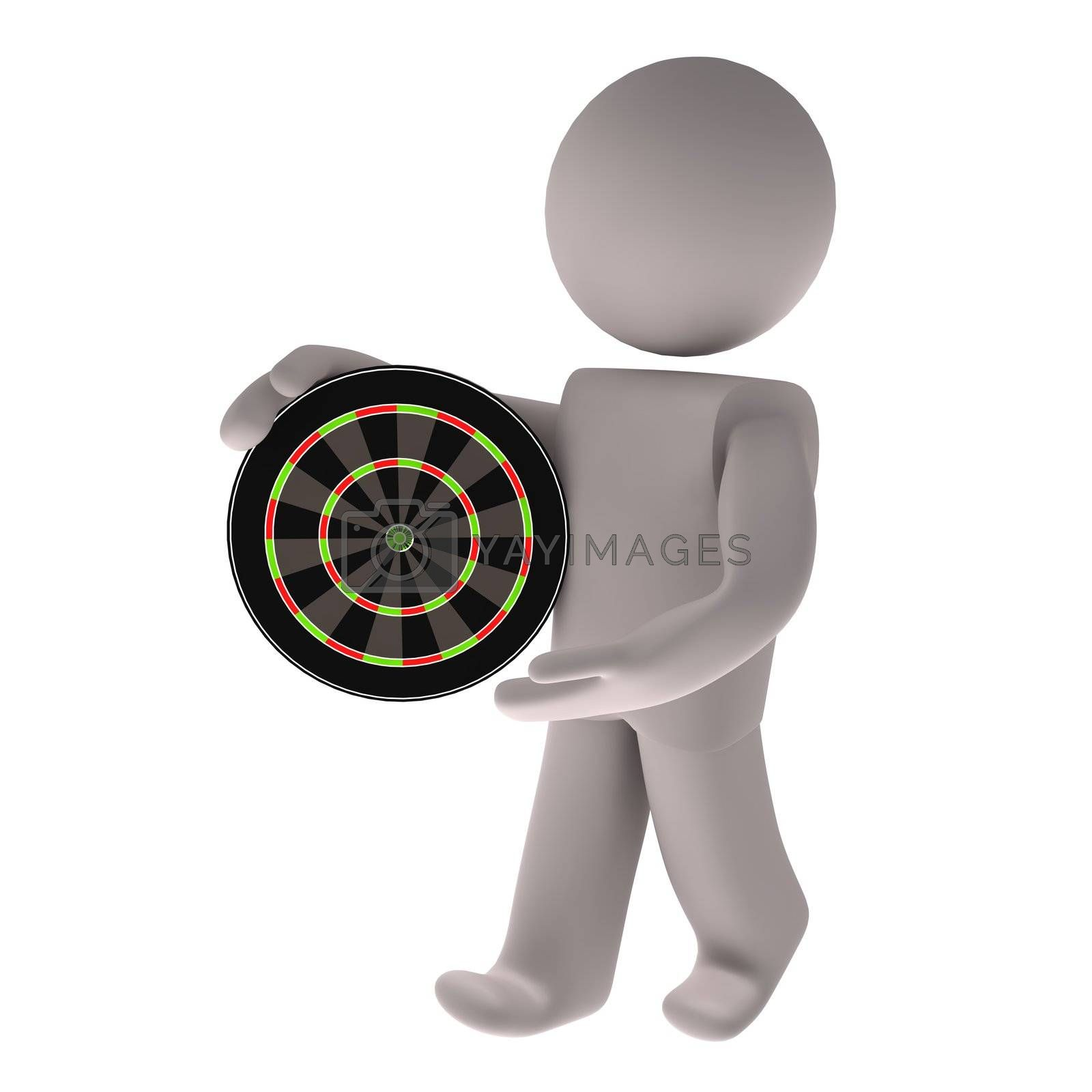 People with dartboard on white background