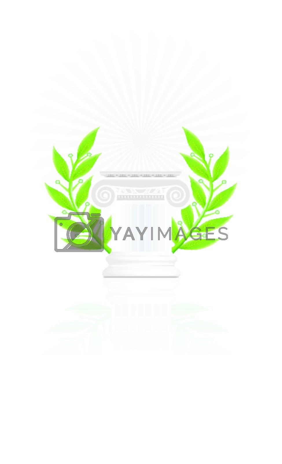 classic column with laurel wreath. Winner pedestal concept illustration