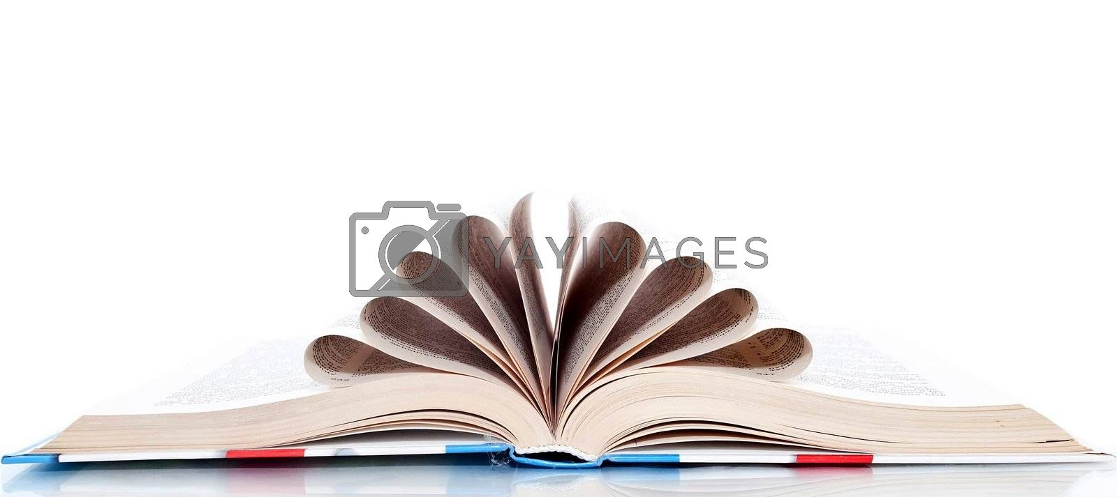 Book with the pages wrapped up in a tube, isolated on a white background