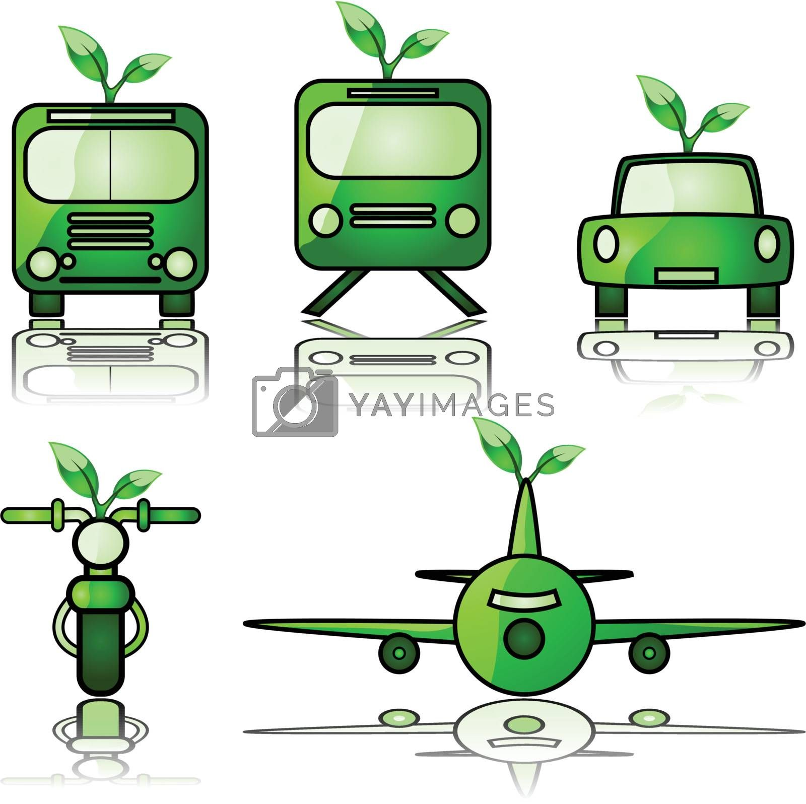 Glossy illustration set of different modes of transportation, with a young tree sprouting from them to signify green forms of travel