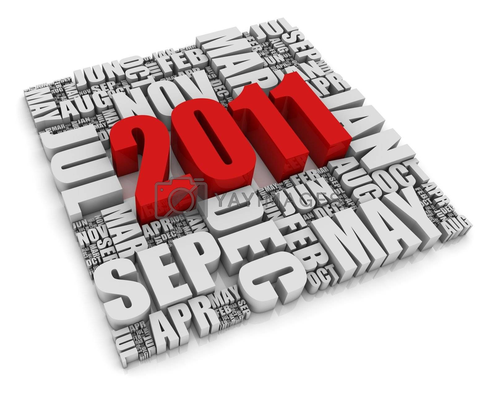 3D text representing the year 2011 and the twelve months. Part of a series of calendar concepts.
