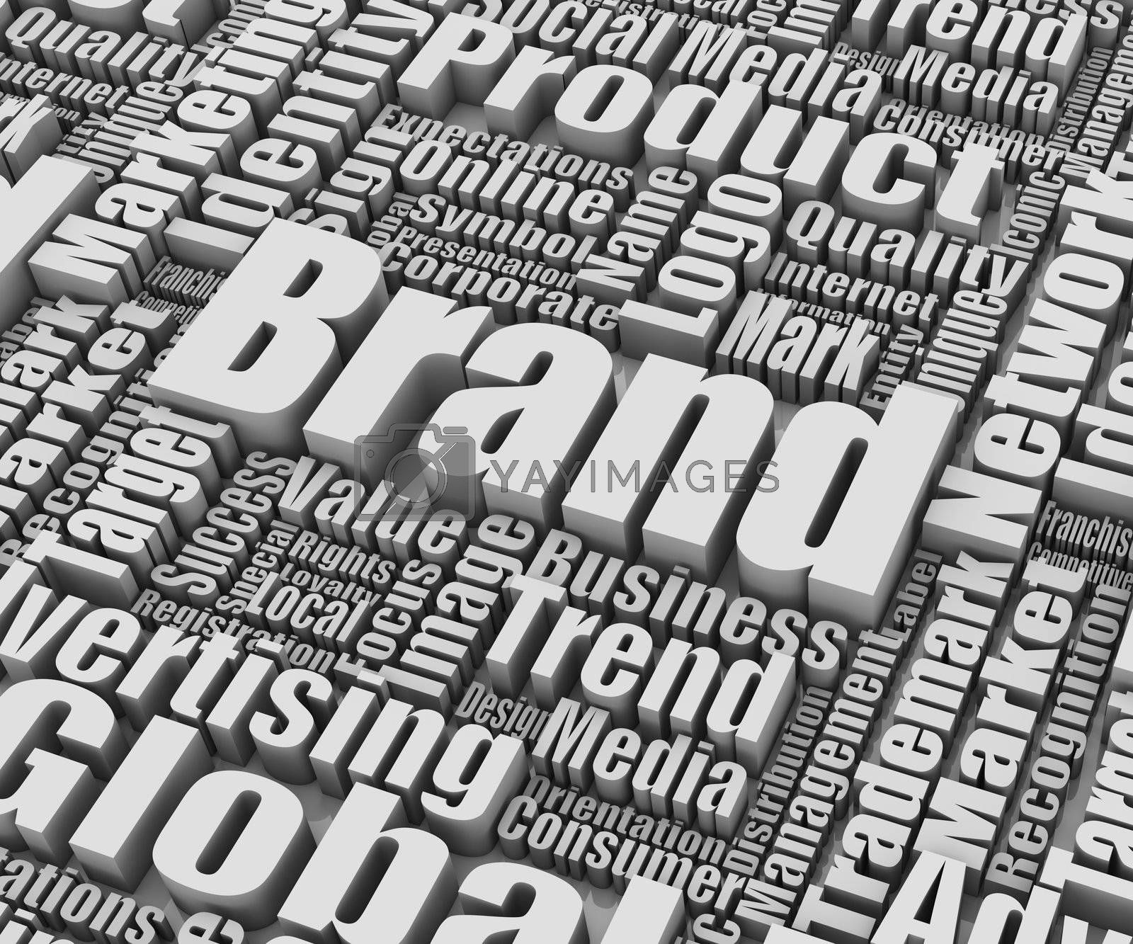 Brand related words. Part of a series of business concepts.