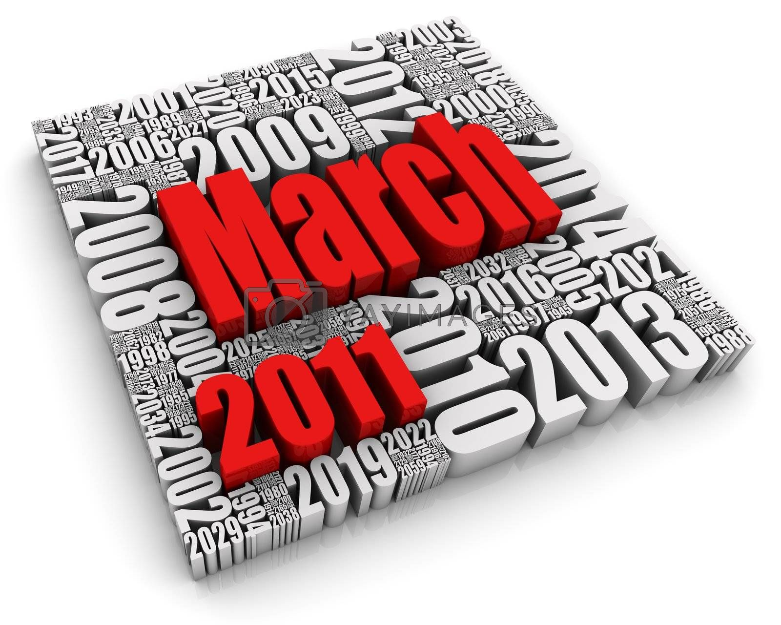 3D text with month surrounded by years. Part of a series of calendar concepts.