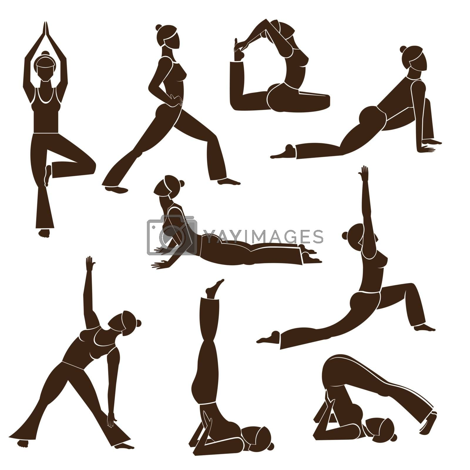 Women silhouettes representing different yoga poses