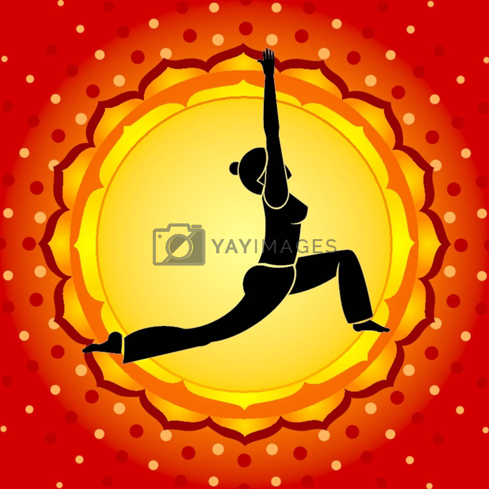 Woman standing in yoga pose against red background