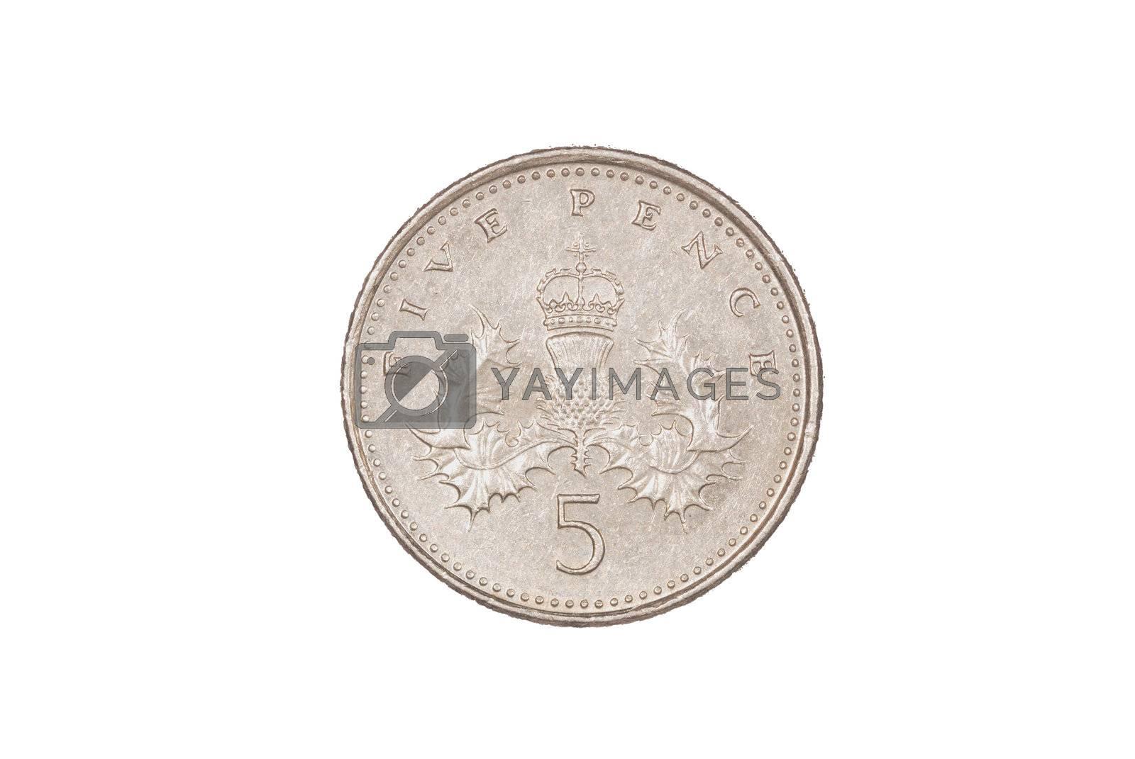 Close up of 5 pence piece