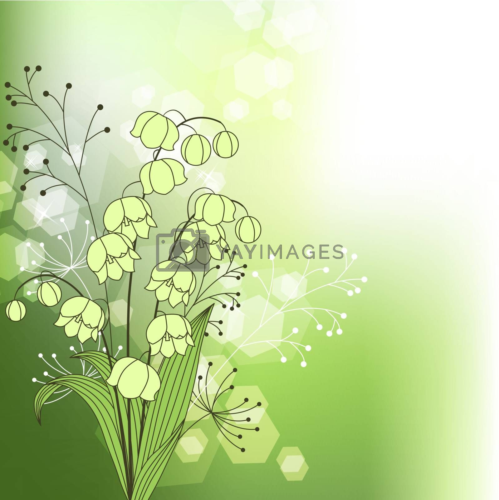 Green background with spring flowers by nurrka