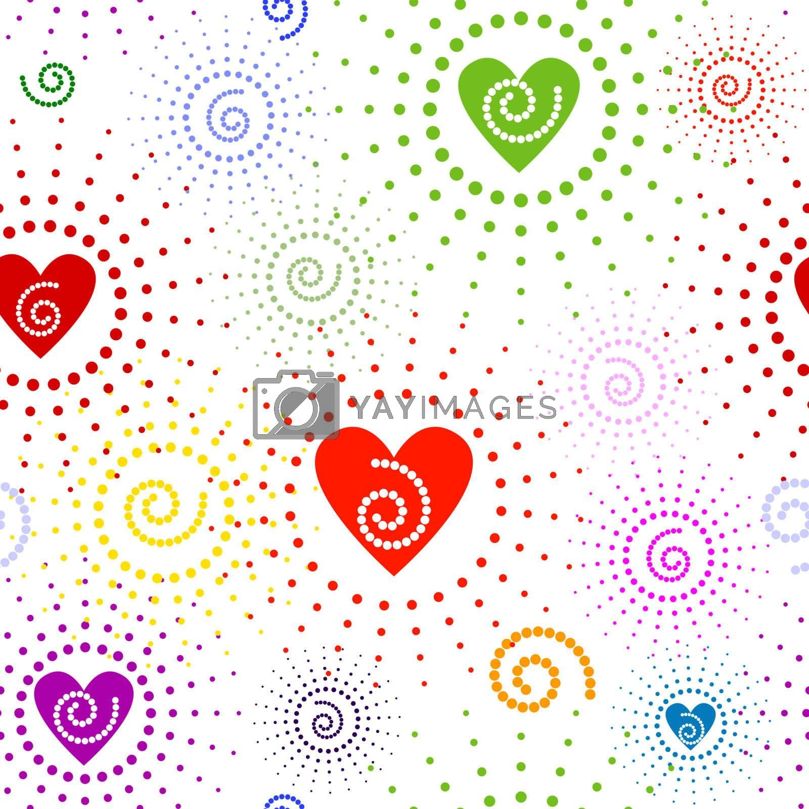 Abstract seamless valentinel white pattern with multicoloured curls and hearts (vector)