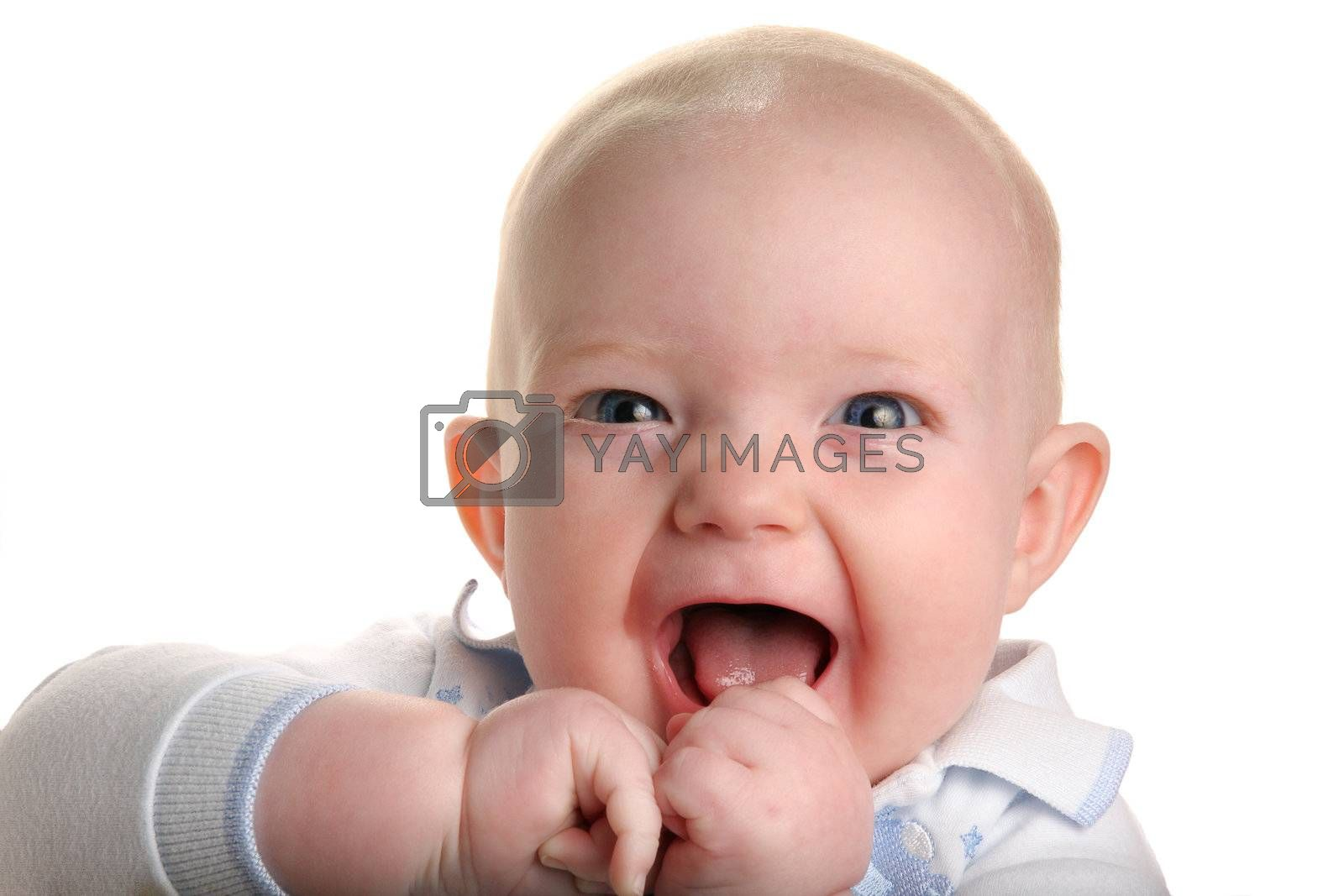Cute happy baby isolated on white