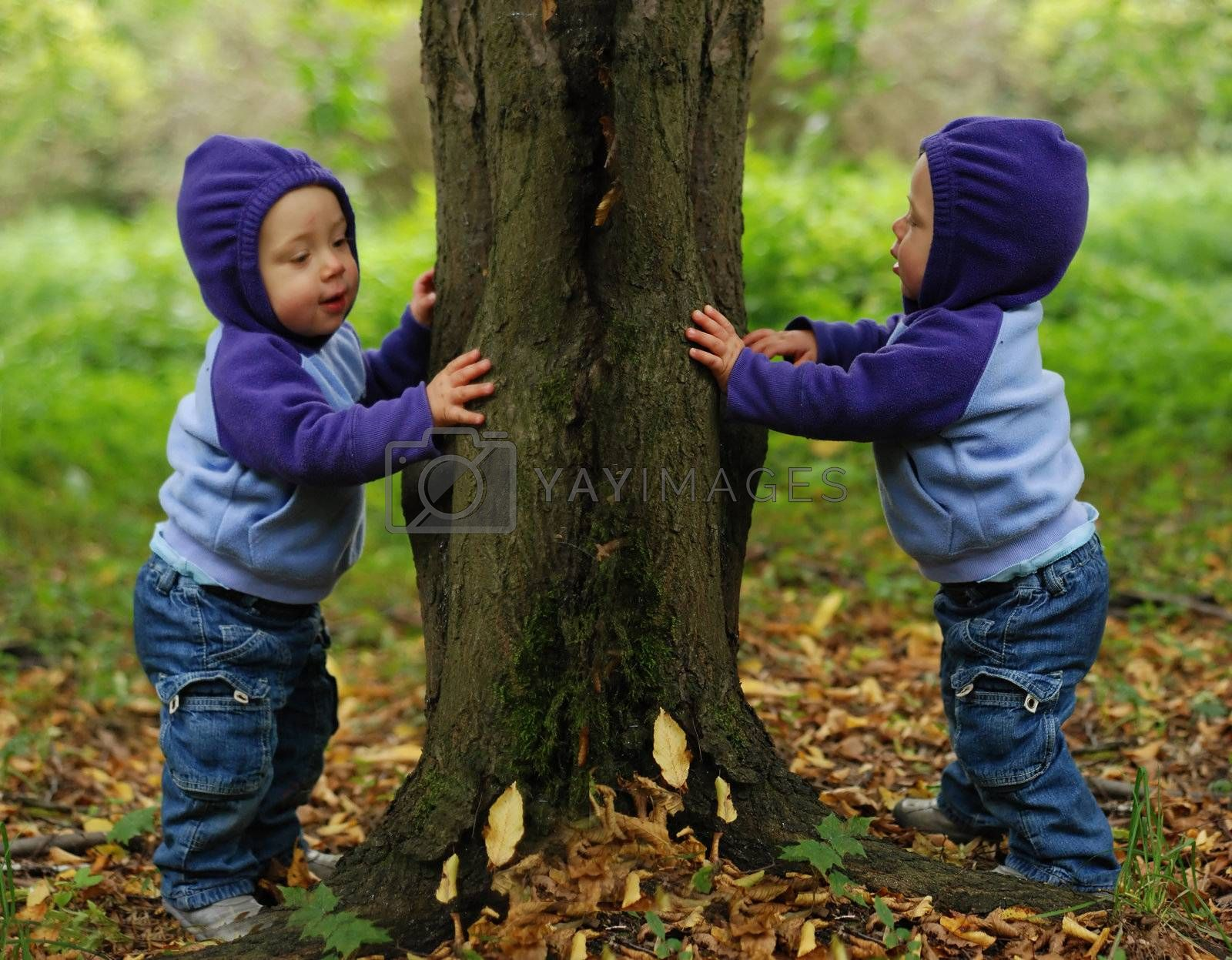 Happy twin toddlers playing in the park in autumn
