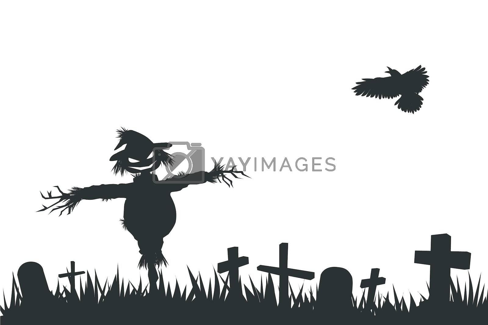 halloween theme silhouette, scarecrow in graveyard