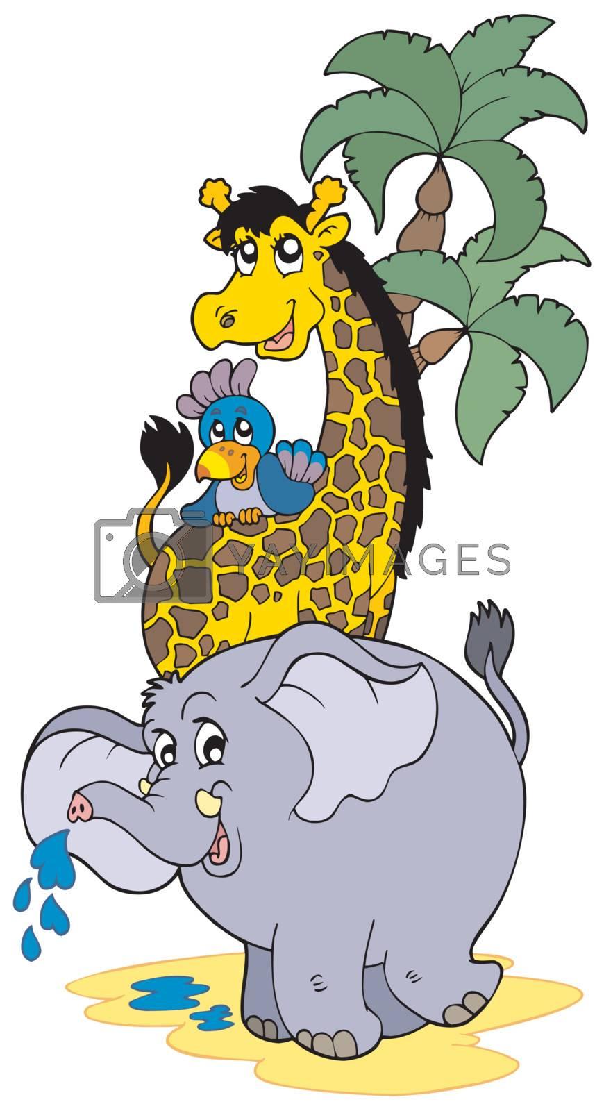 Cartoon African animals - vector illustration.