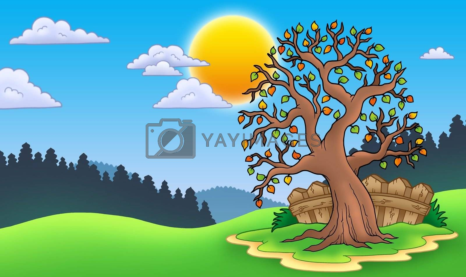 Leafy tree in autumn landscape - color illustration.