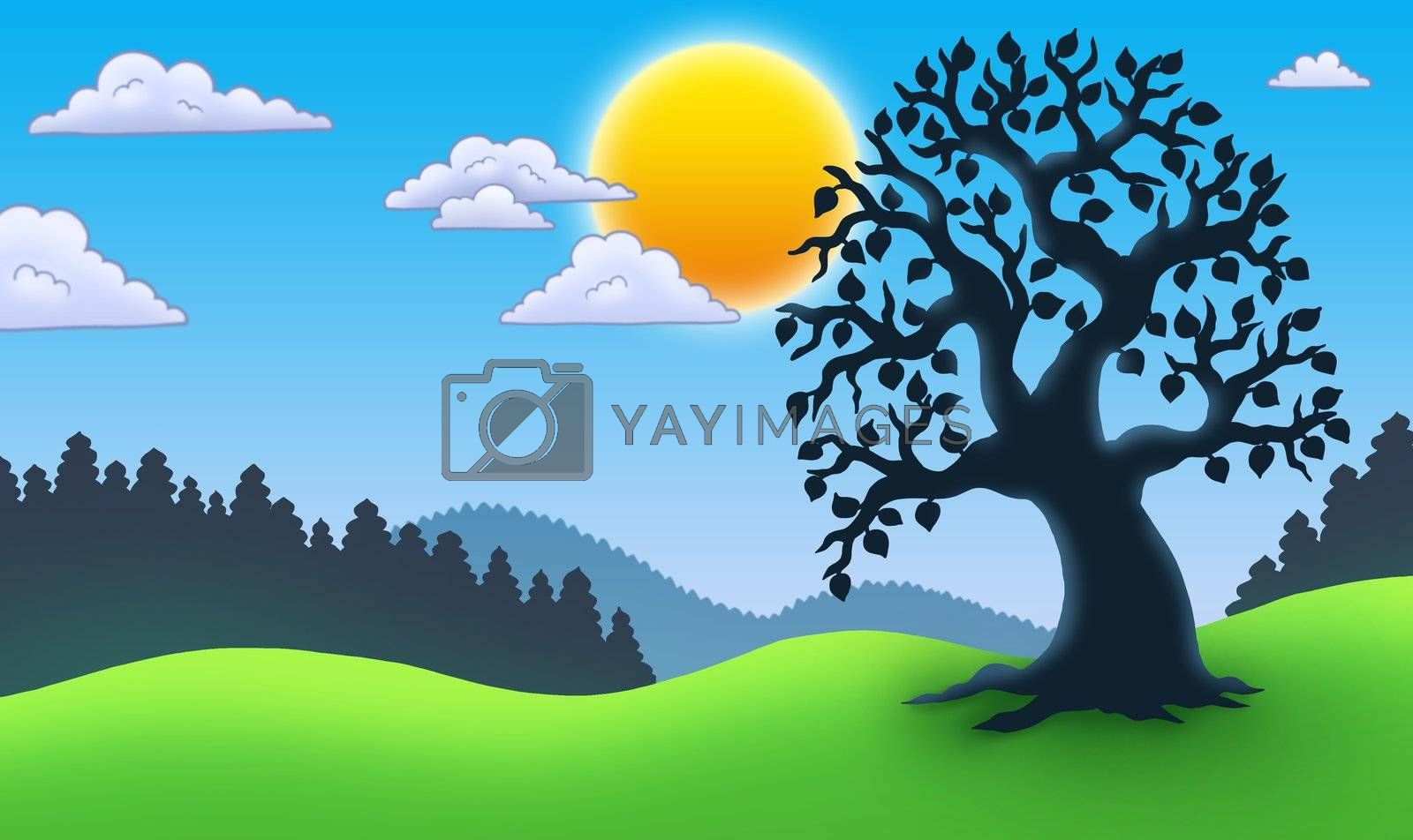 Leafy tree silhouette in landscape - color illustration.