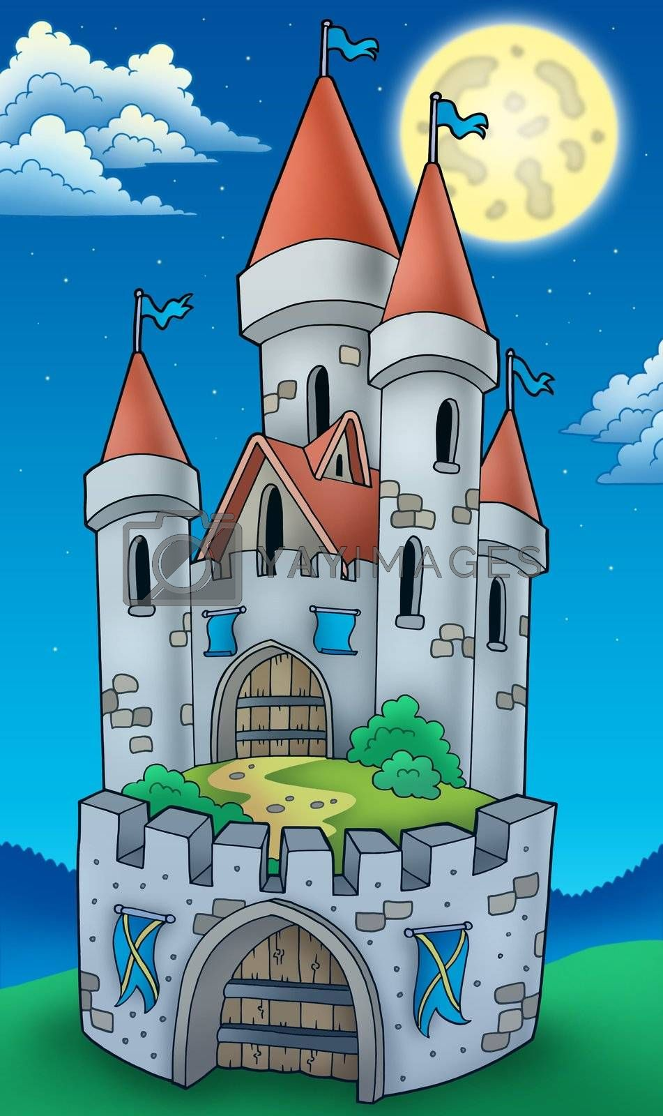 Night view on tall castle - color illustration.