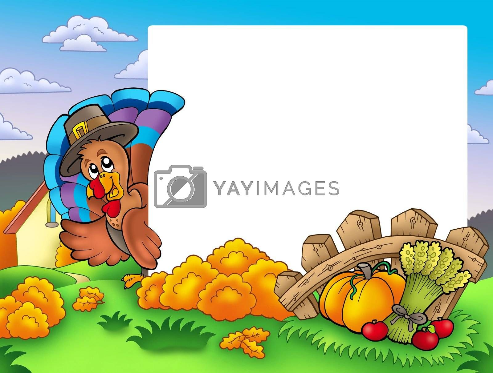 Thanksgiving frame with turkey 1 - color illustration.