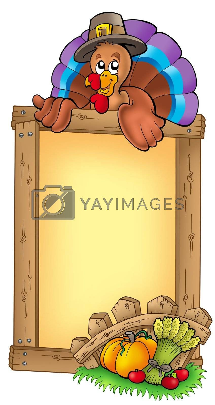 Wooden frame with lurking turkey - color illustration.