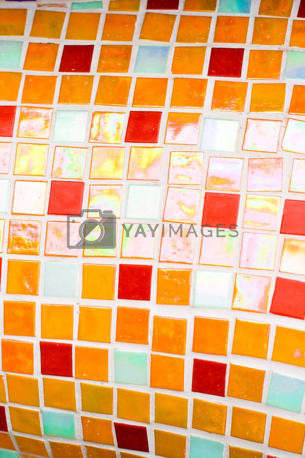 small orange tiles texture close up