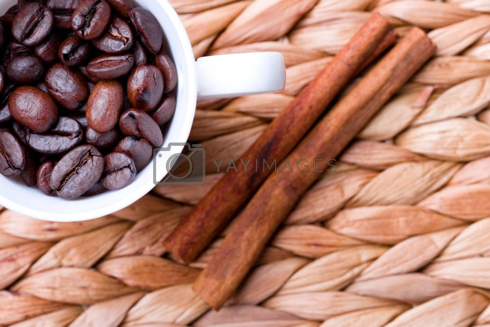 coffee beans and cinnamon by marylooo