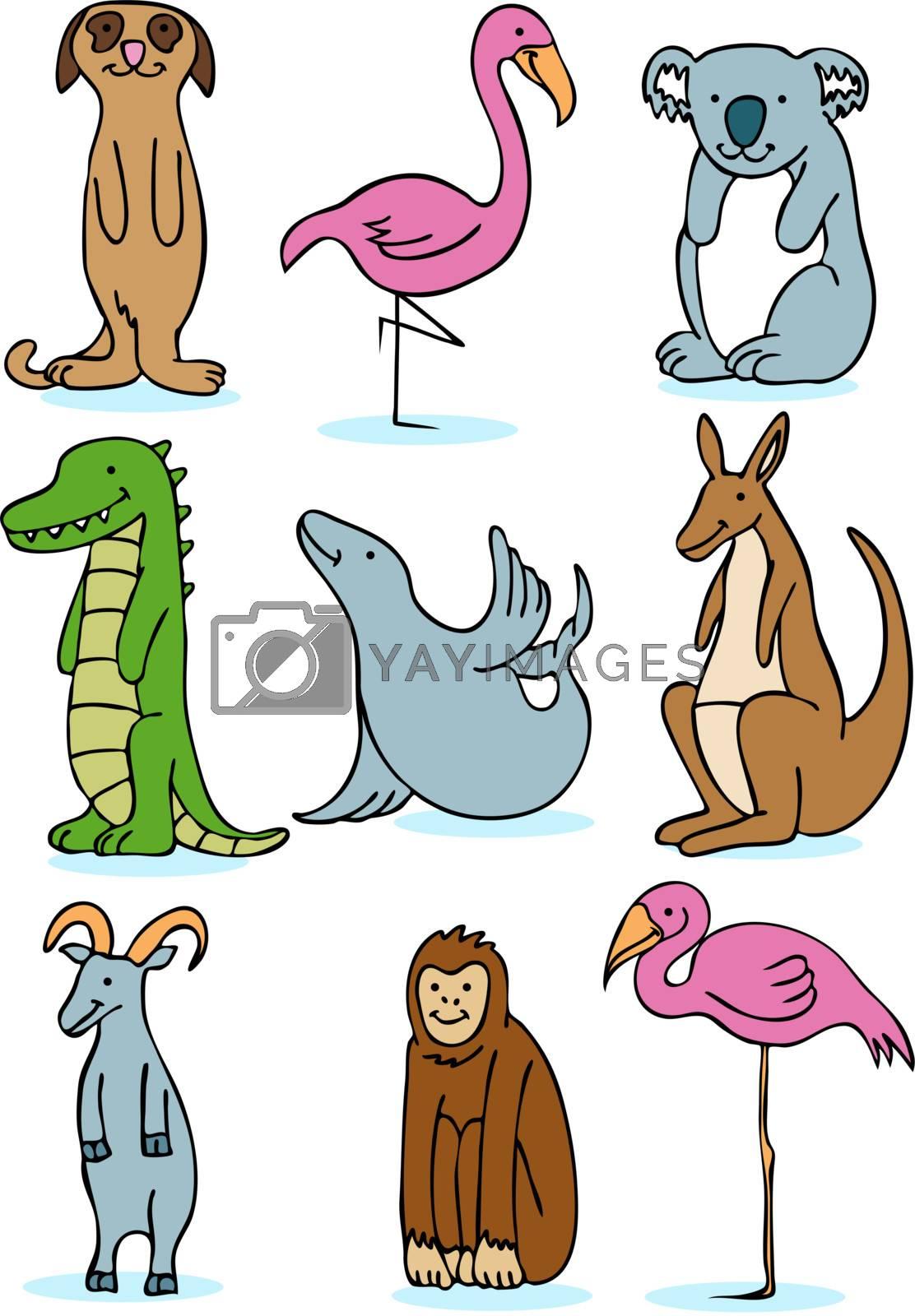 Set of 9 zoo animals.