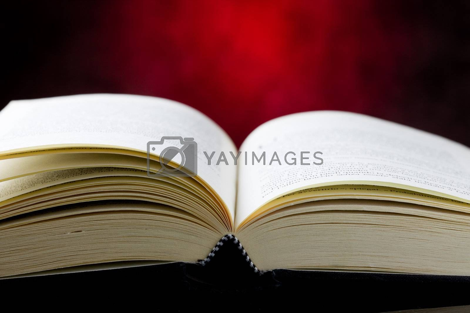 photo of a book which is open in front of a red rural background