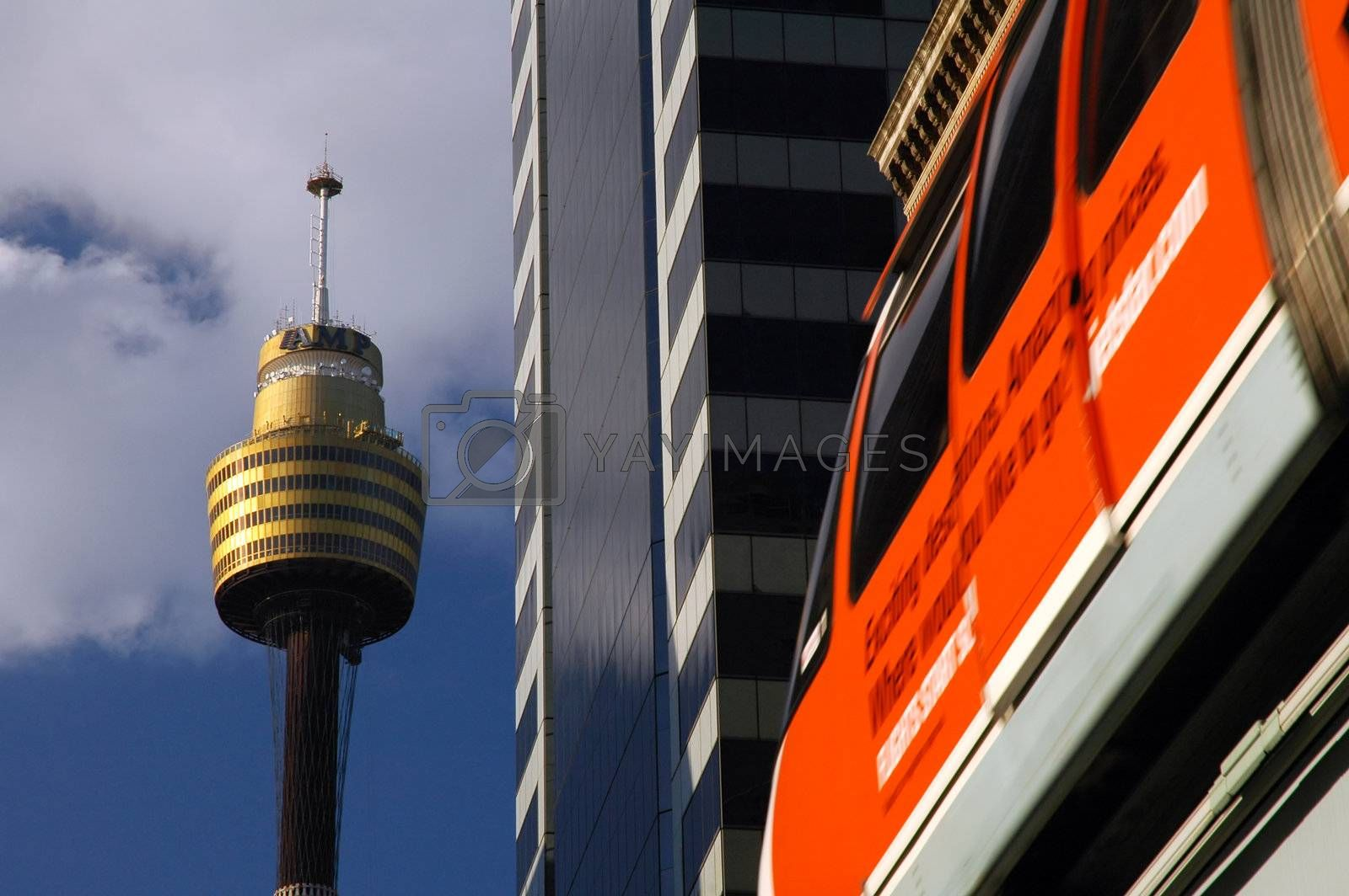 sydney tower and red monorail, detail photography