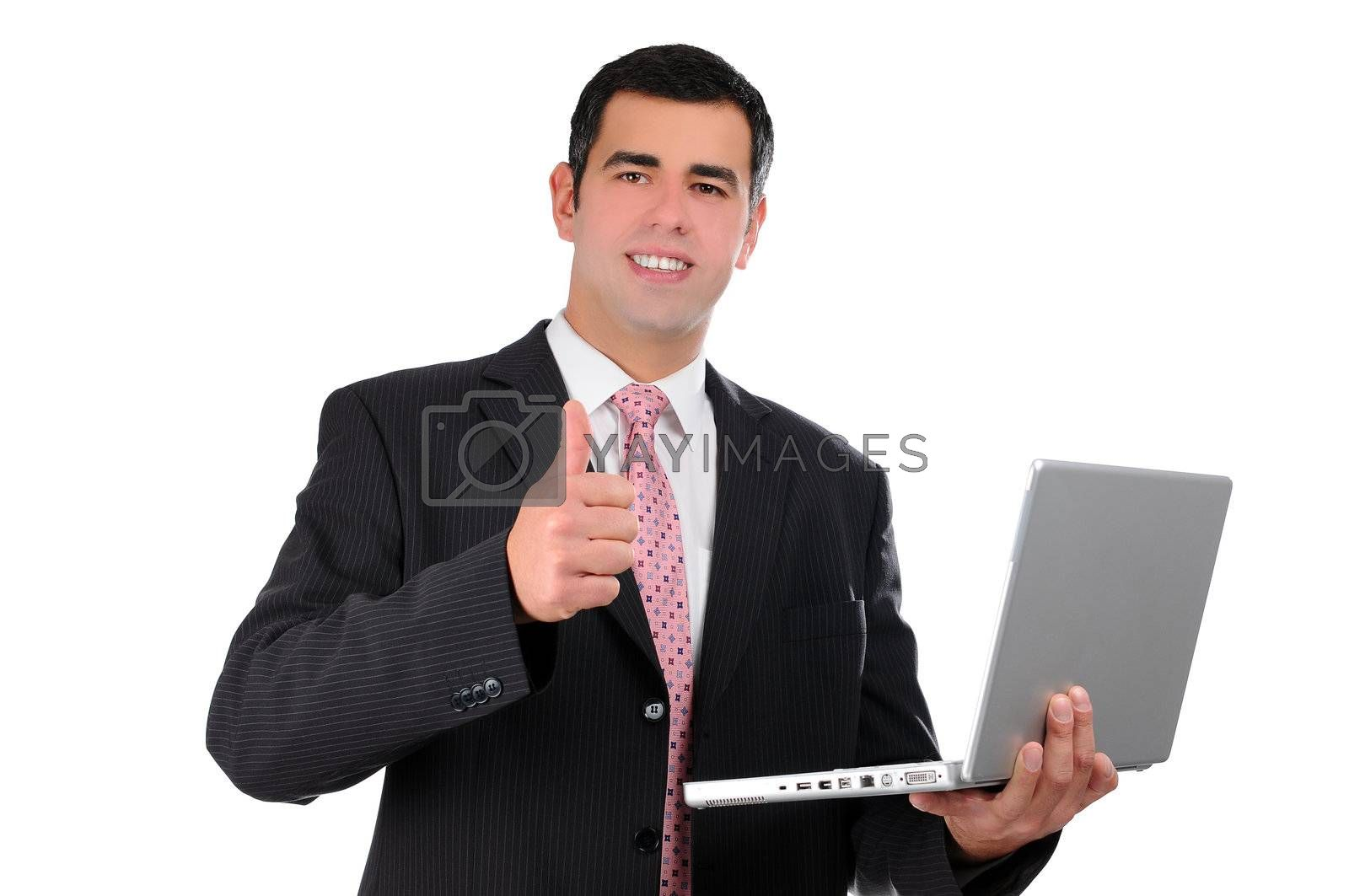 Close up of young businessman holding laptop with thumb up