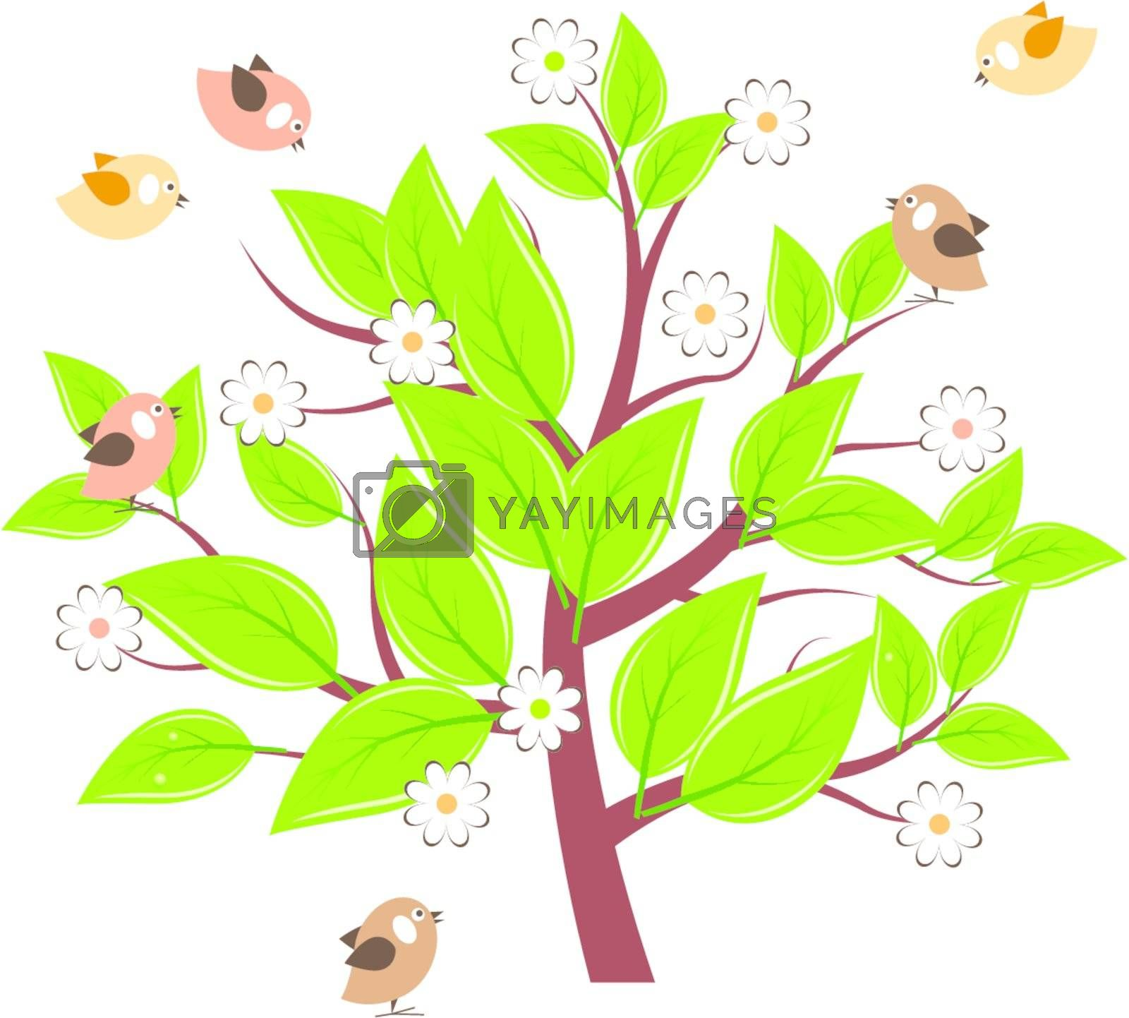 Stylized tree with green leaves and flying birds