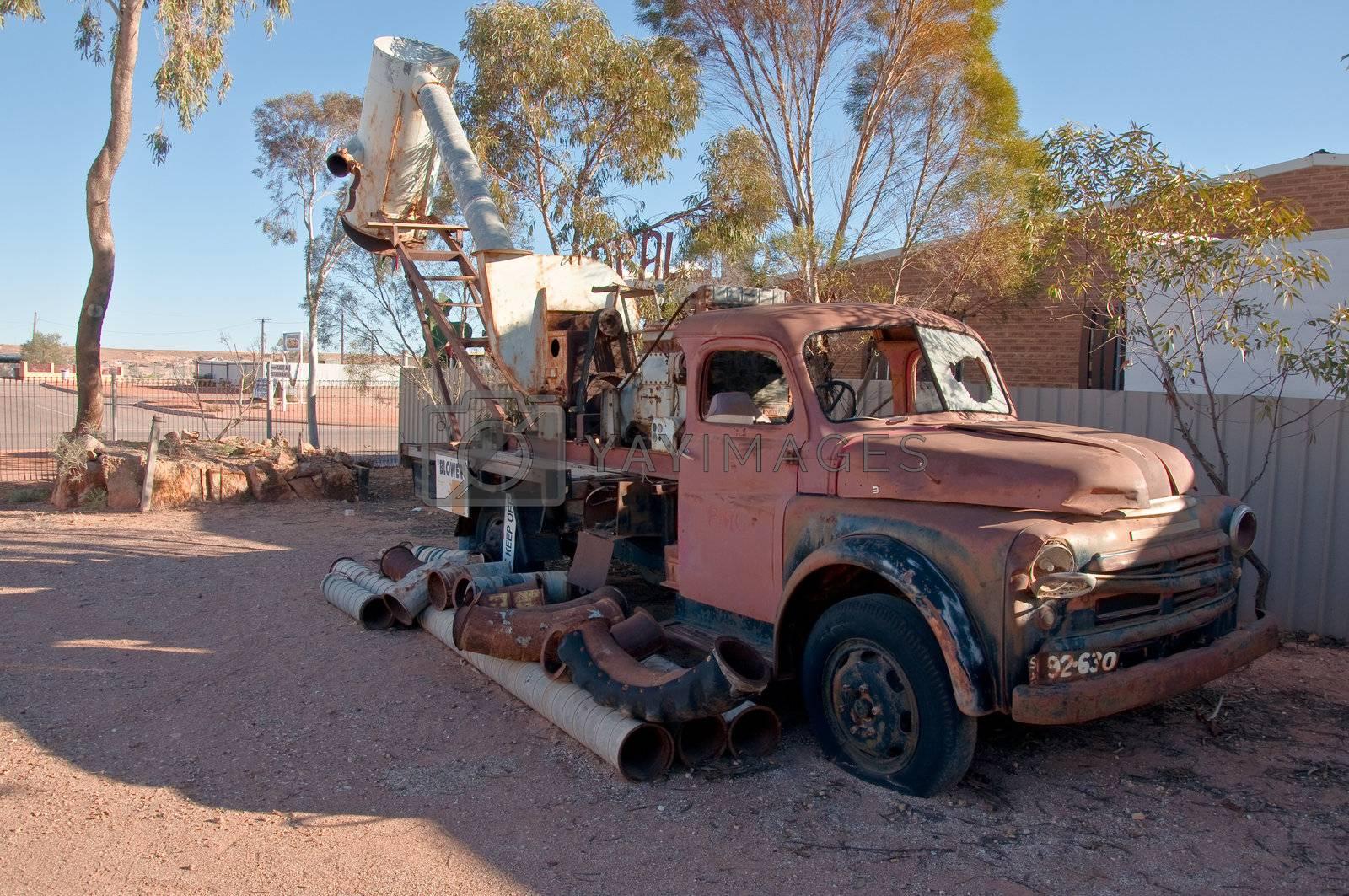 wreck car in Coober Pedy, australia outback south australia