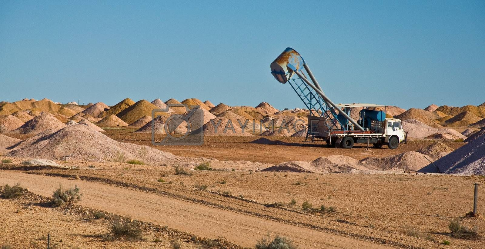 mine area in coober pedy, the red centre in southern australia