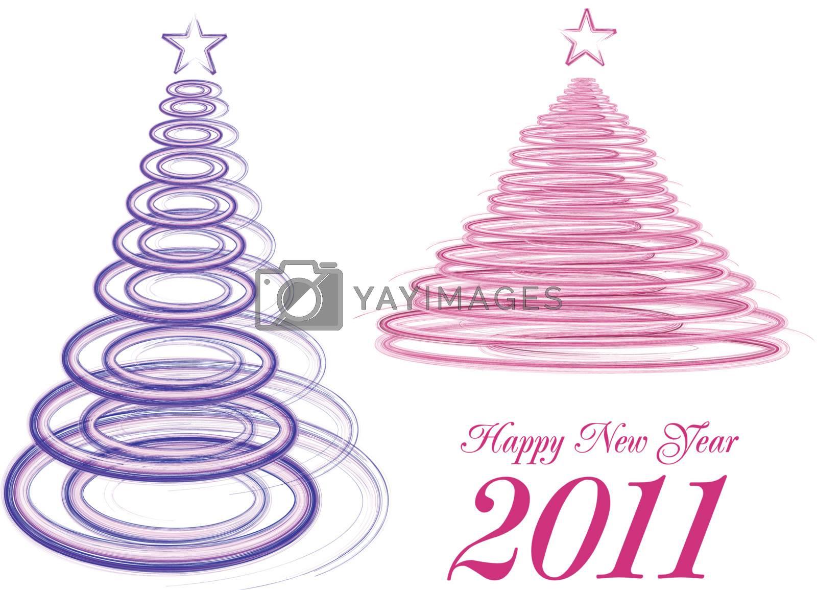 stylized Christmas tree on white background