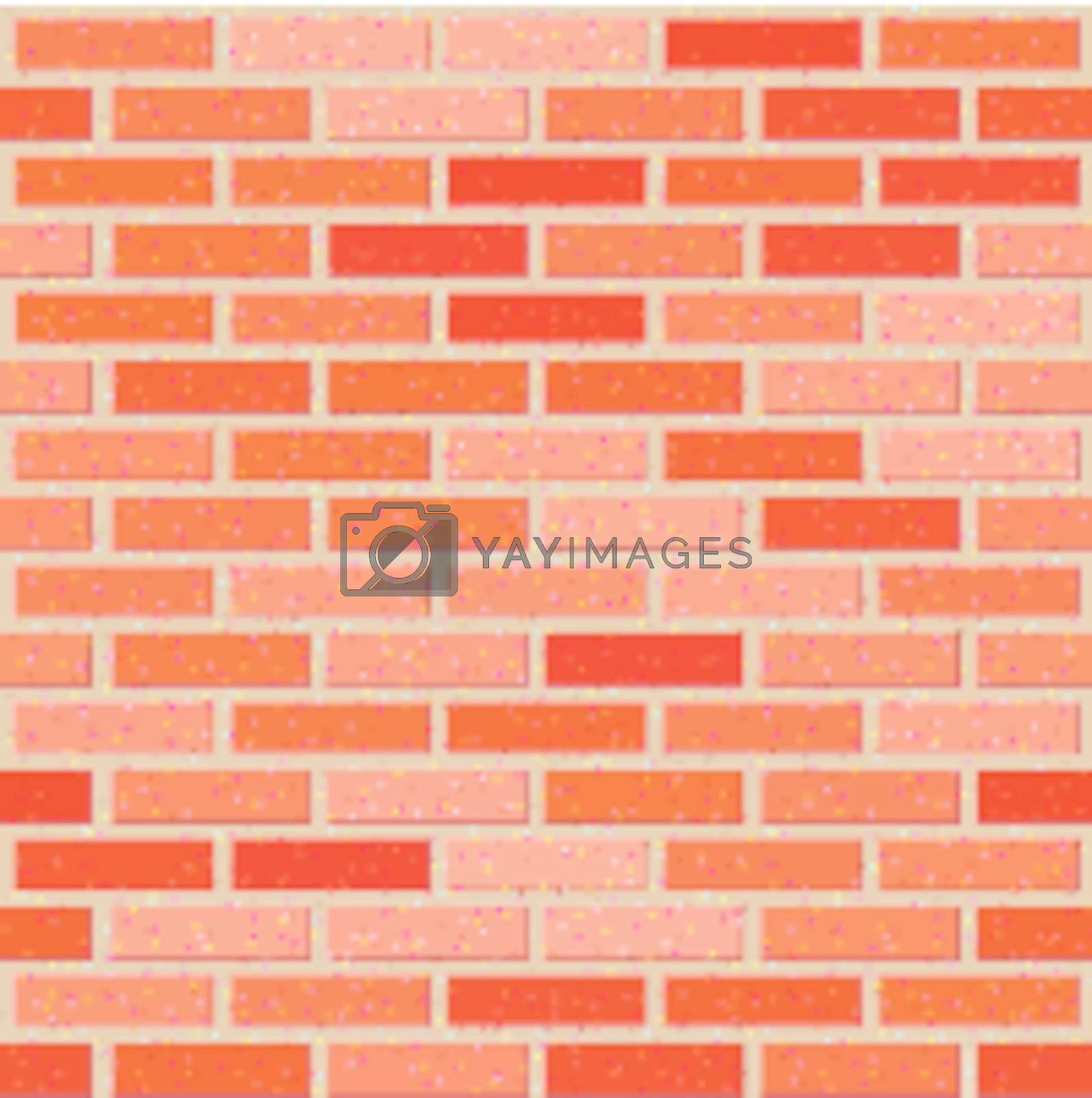 Red brick seamless wall with noise textures. 8 EPS Vector Illustration
