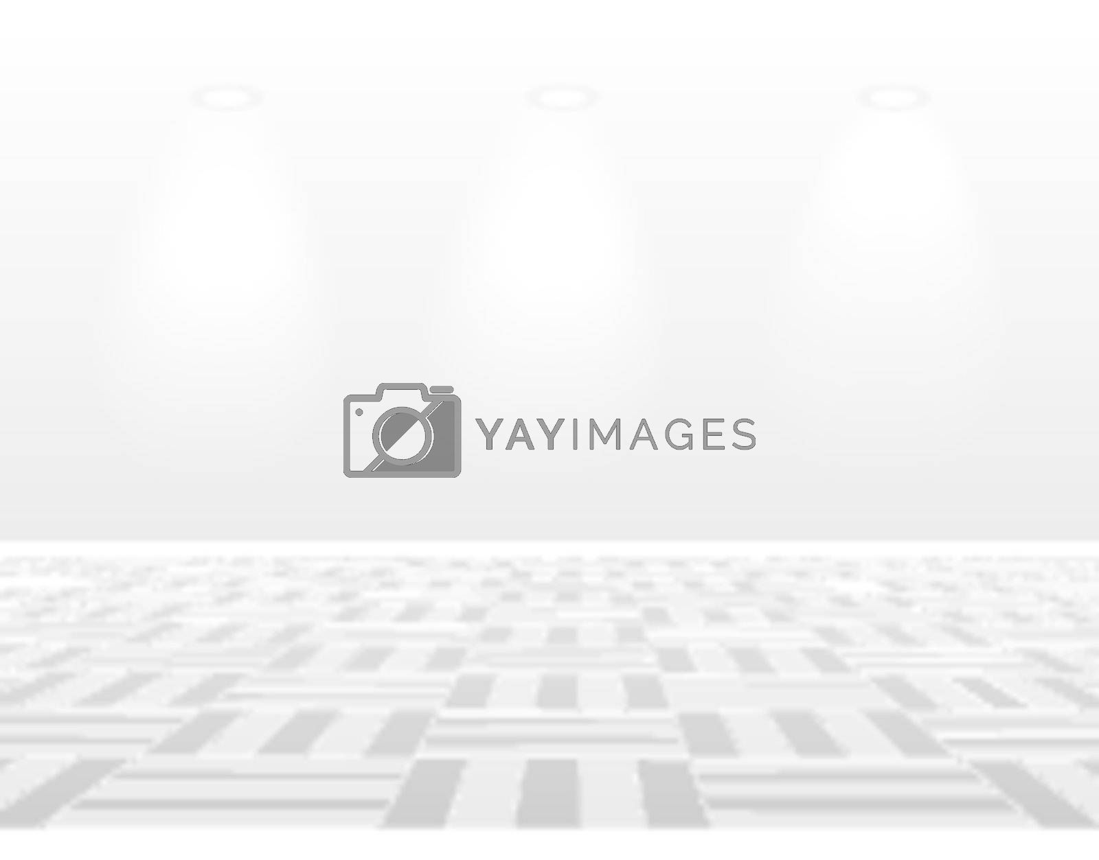 Empty white room with lamp on gray background