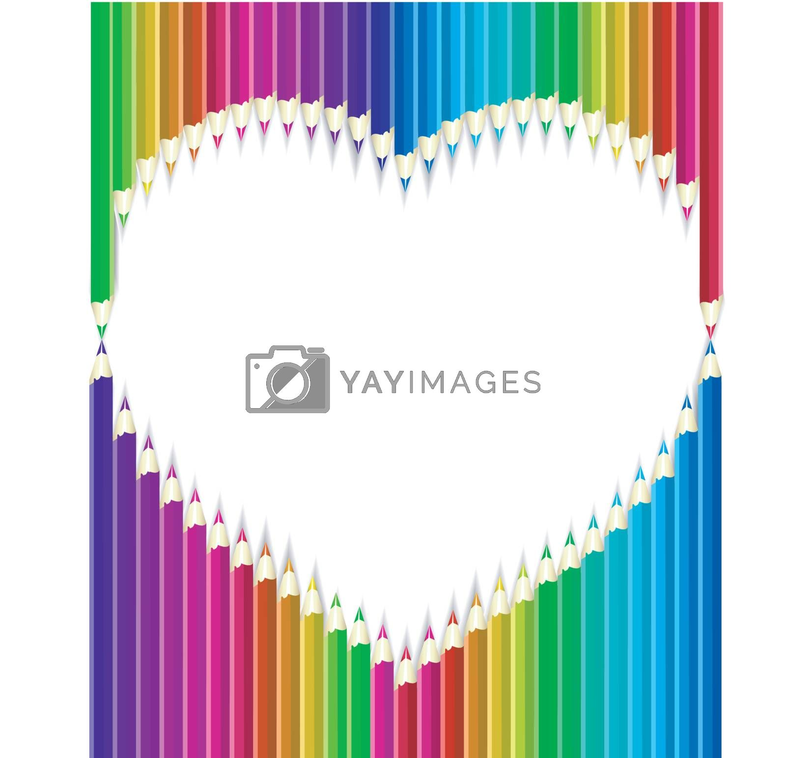 Colored pencils in heart shape form/ Vector Illustration
