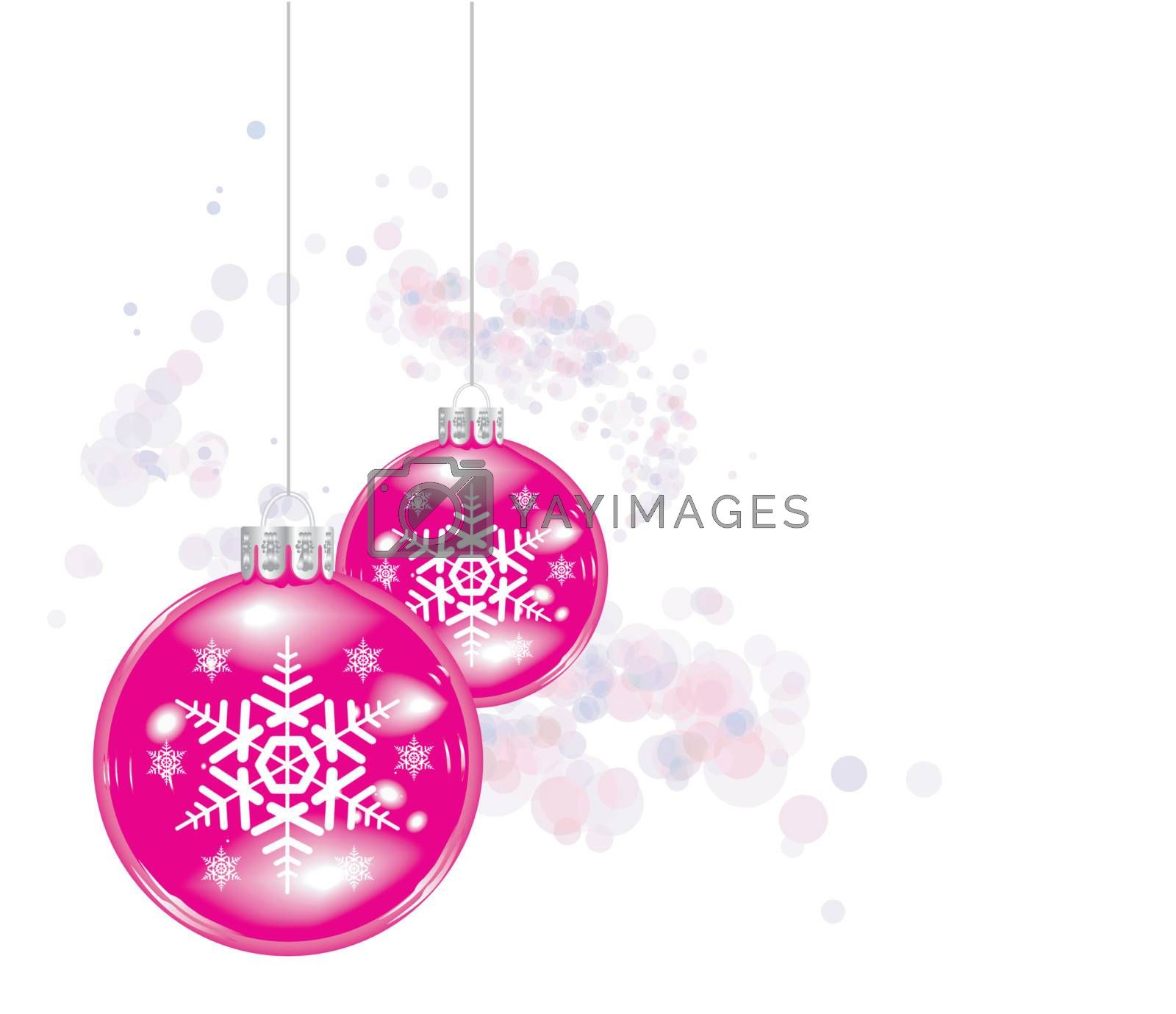 Christmas ball on abstract lights background on white