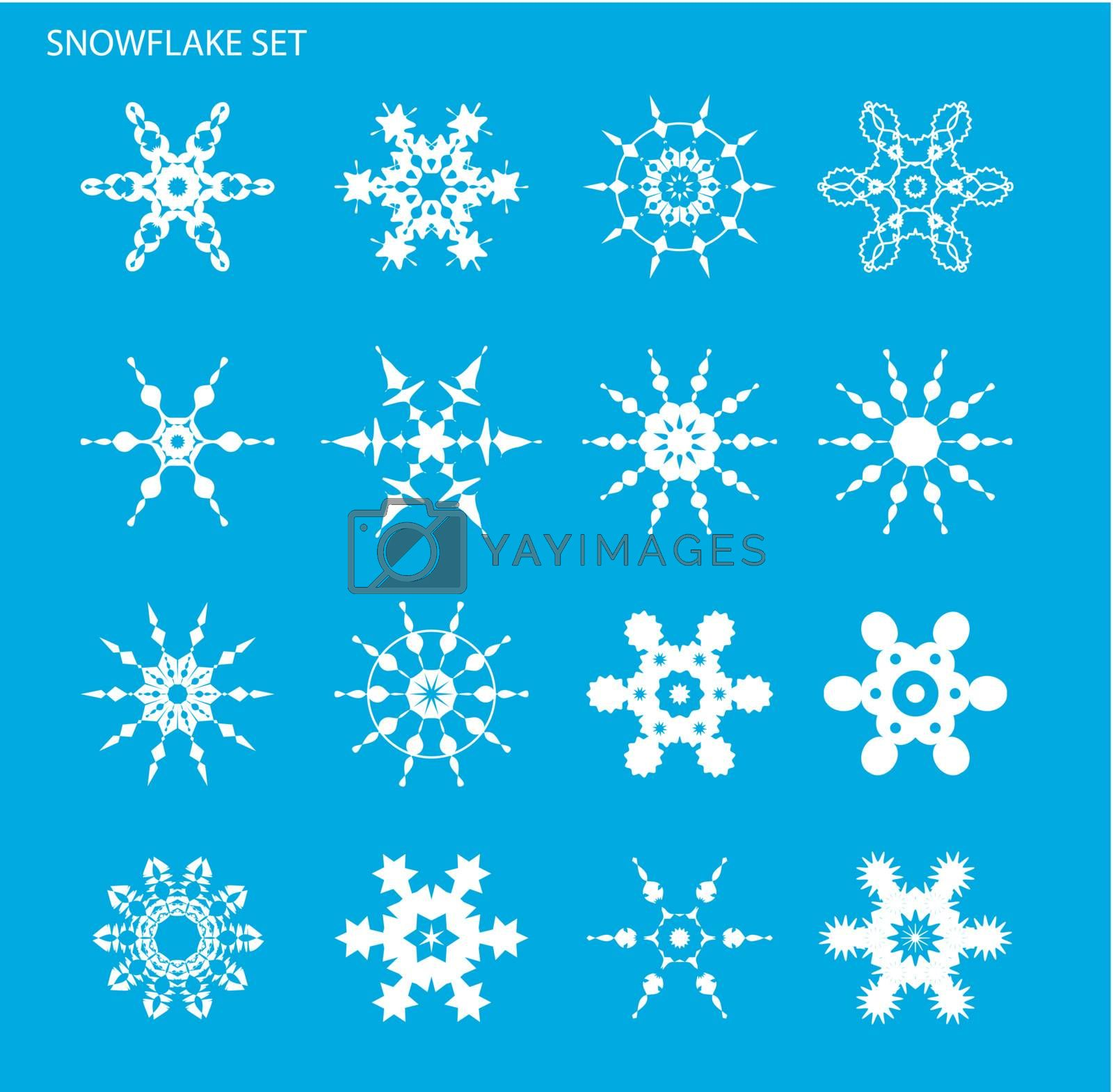 Set with snowflakes on blue background for design