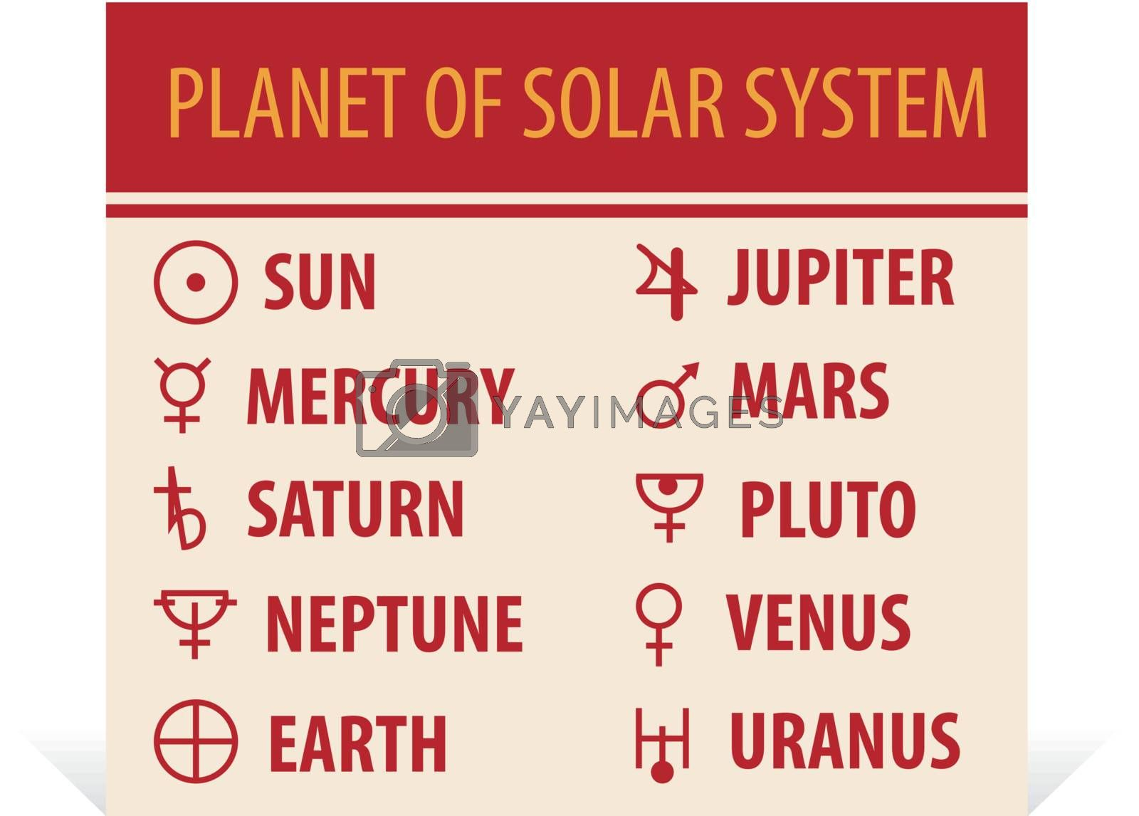 llustration of different astrological symbols - signs of planets