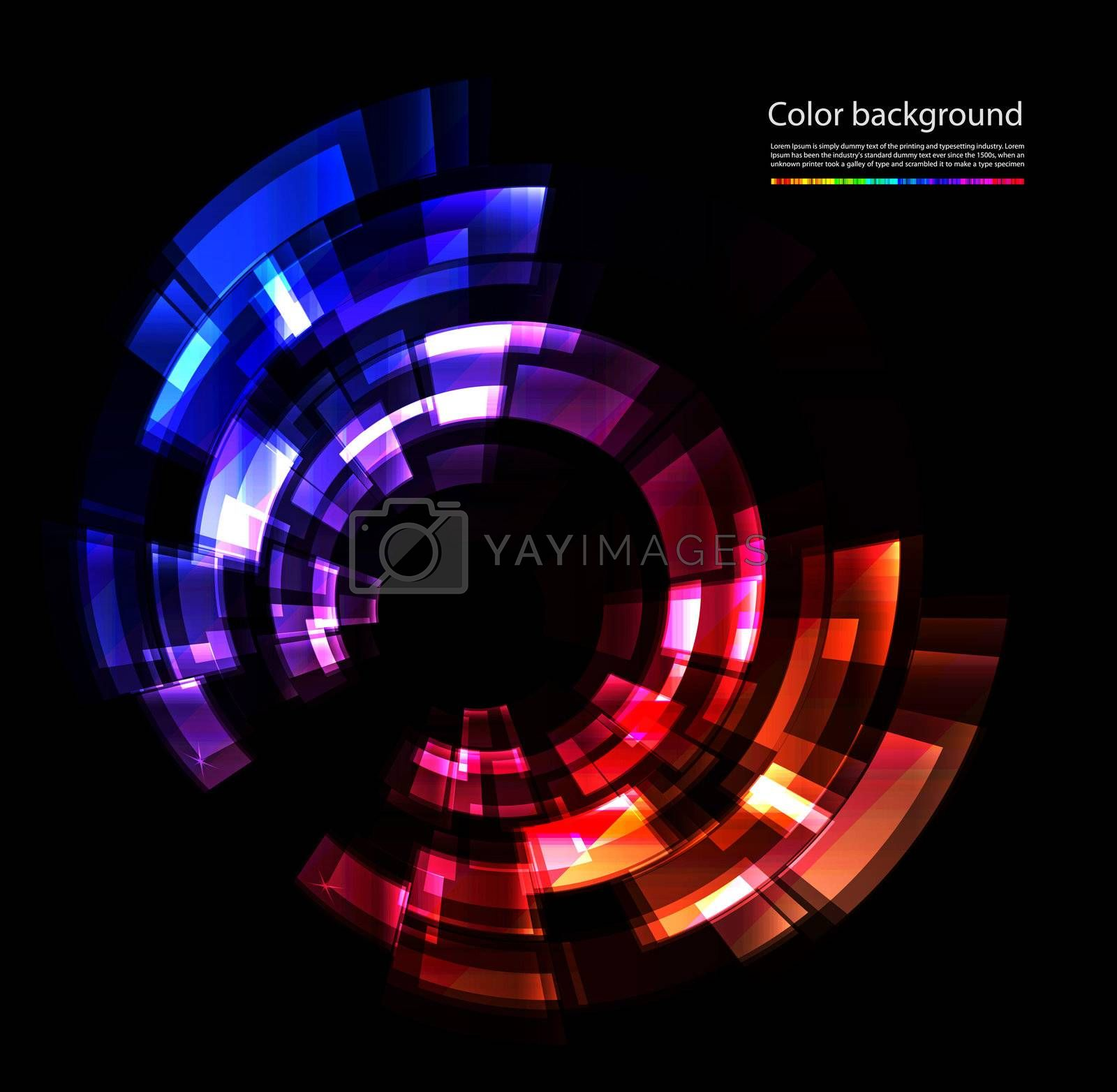 Vector abstract color composition on black background