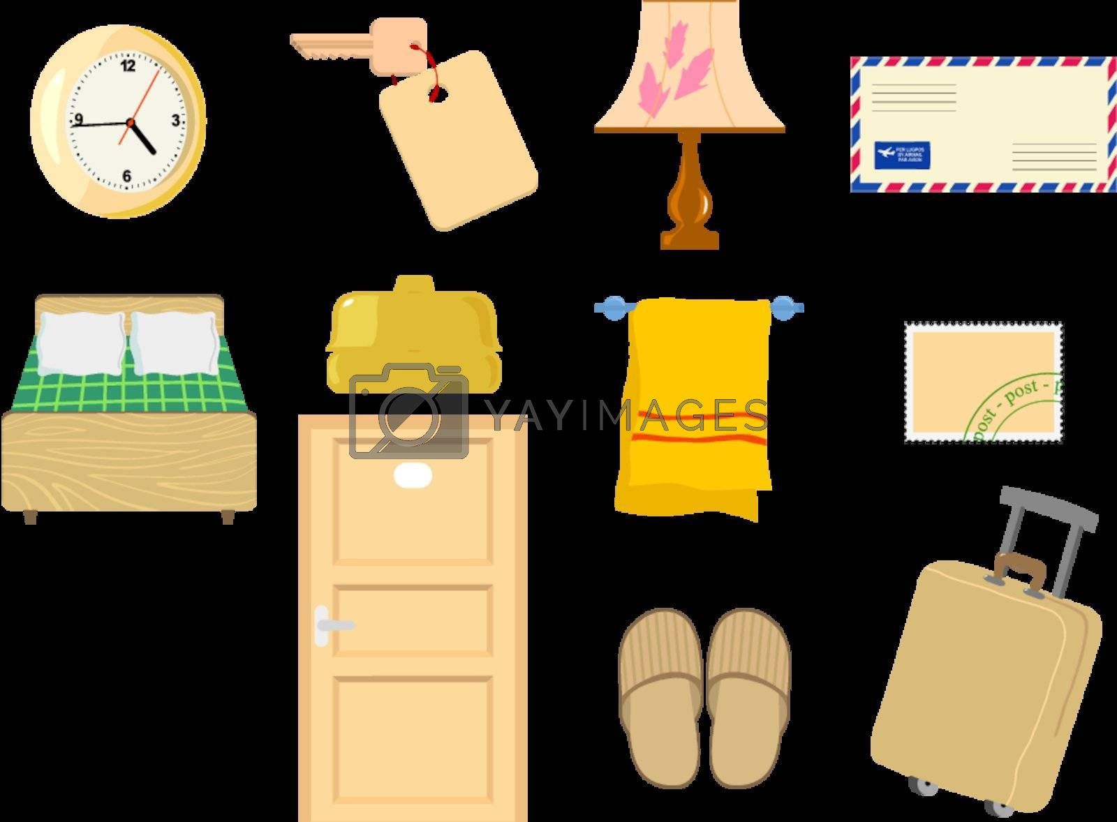 Set of hotel objects