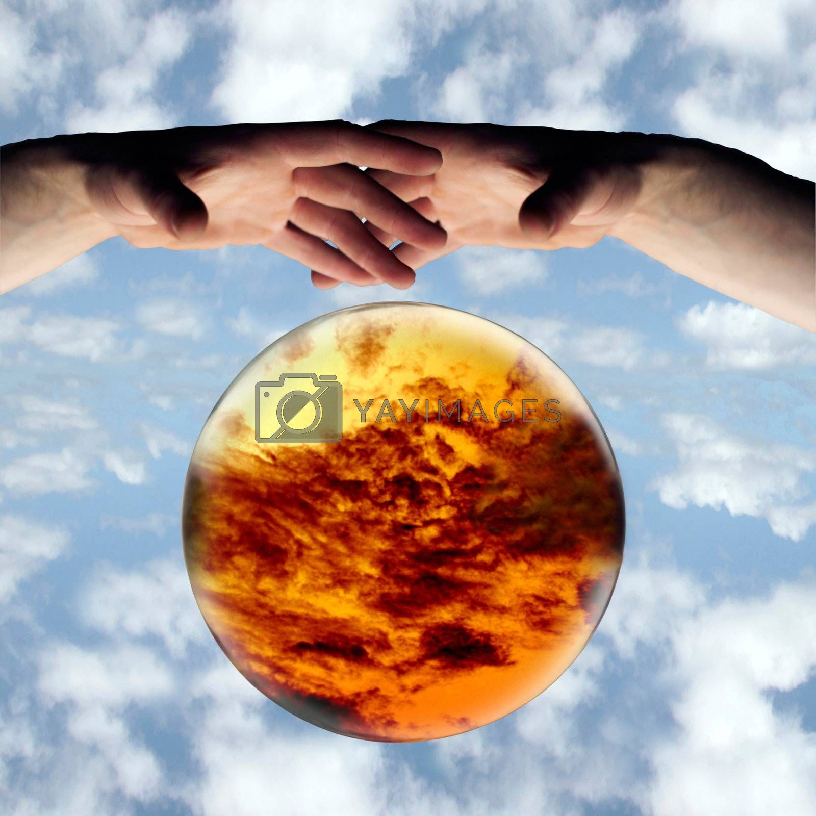 crystal ball showing dark clouds on the horizon with a clipping path and a sky background