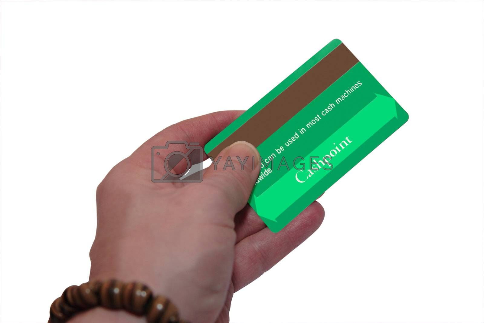 a man holding a credit card (made up fake card ) with clipping path