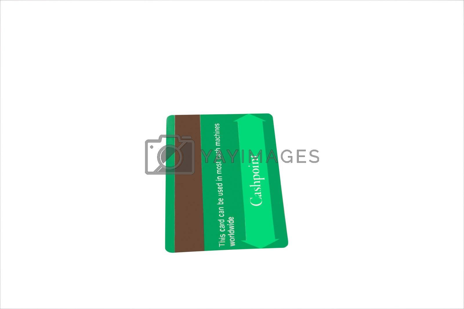 a matt green plain credit card with clipping path