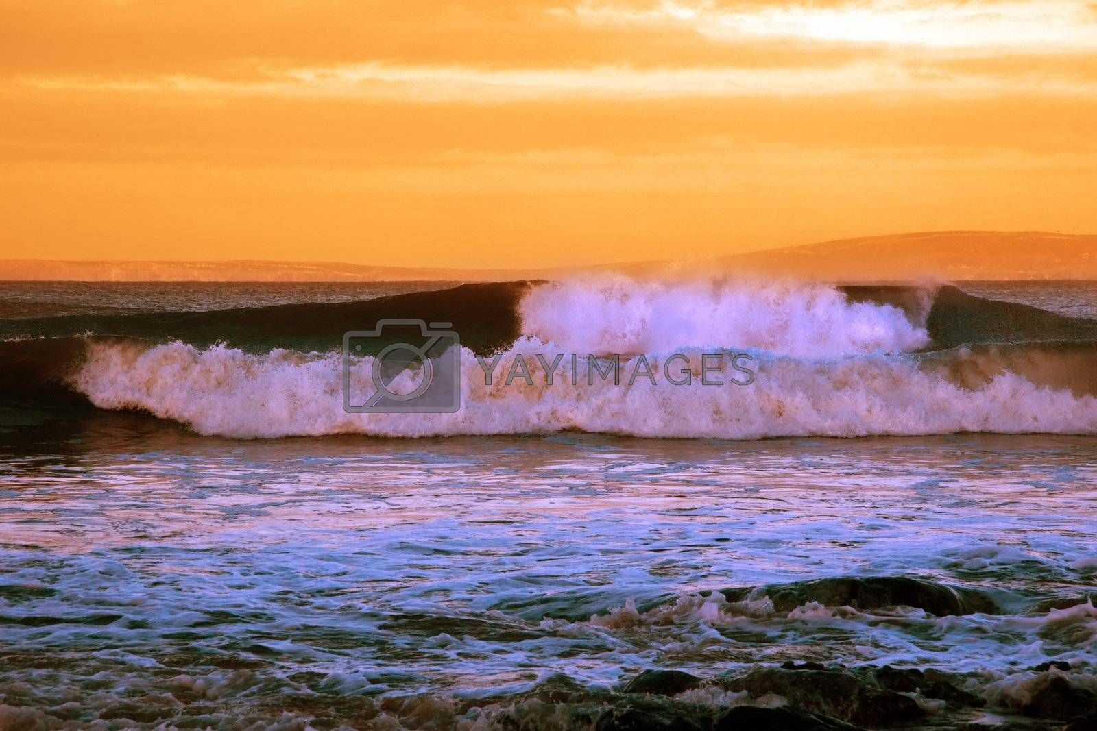 sweeping waves during a storm of the west coast of ireland