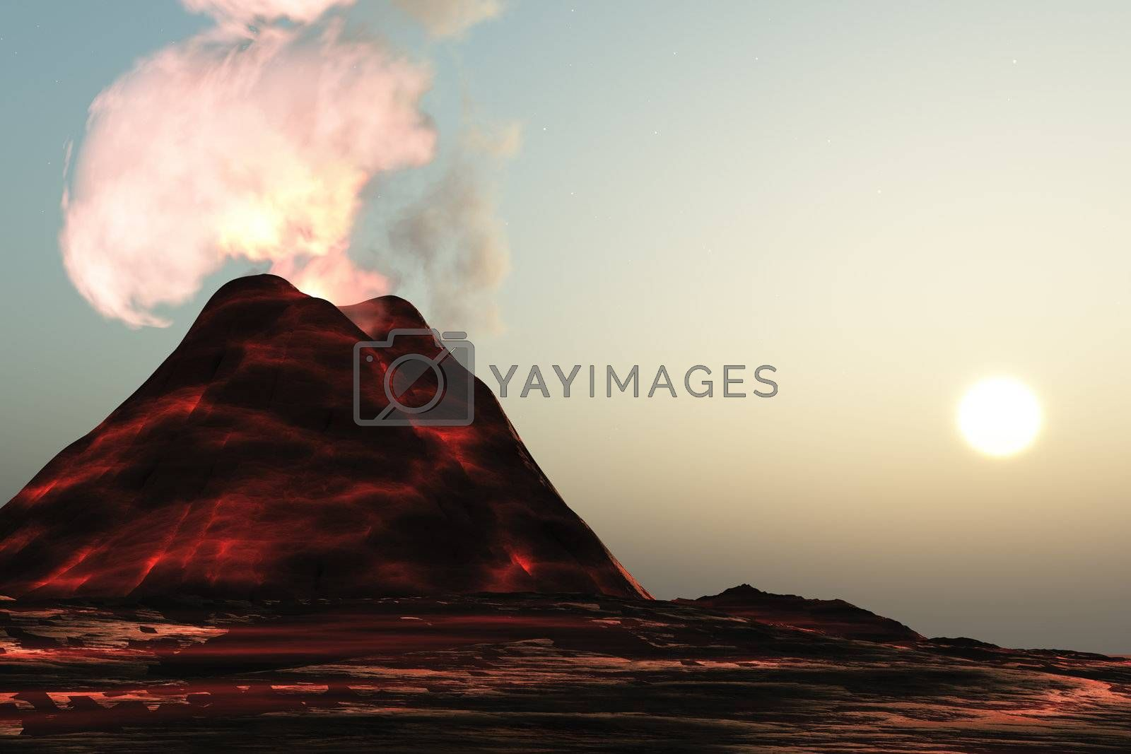 A new volcano made of molten lava expels vibrant smoke plumes.