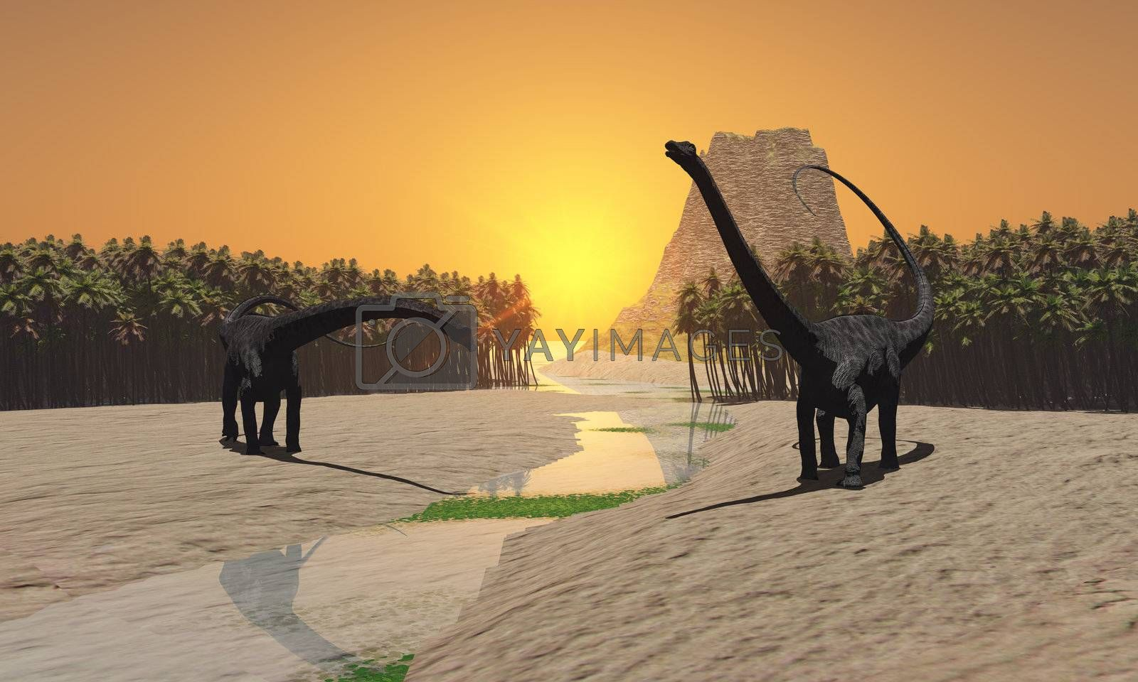 Two Diplodocus dinosaurs come to a river for a drink in prehistoric times.