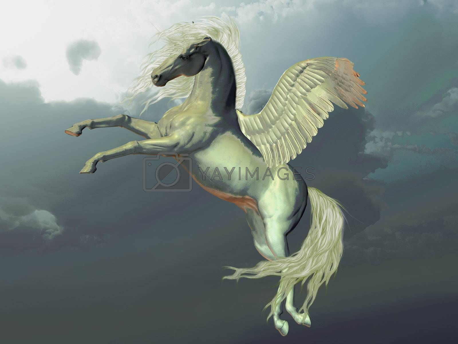 Ivory Pegasus flies up into the clouds above the Earth.