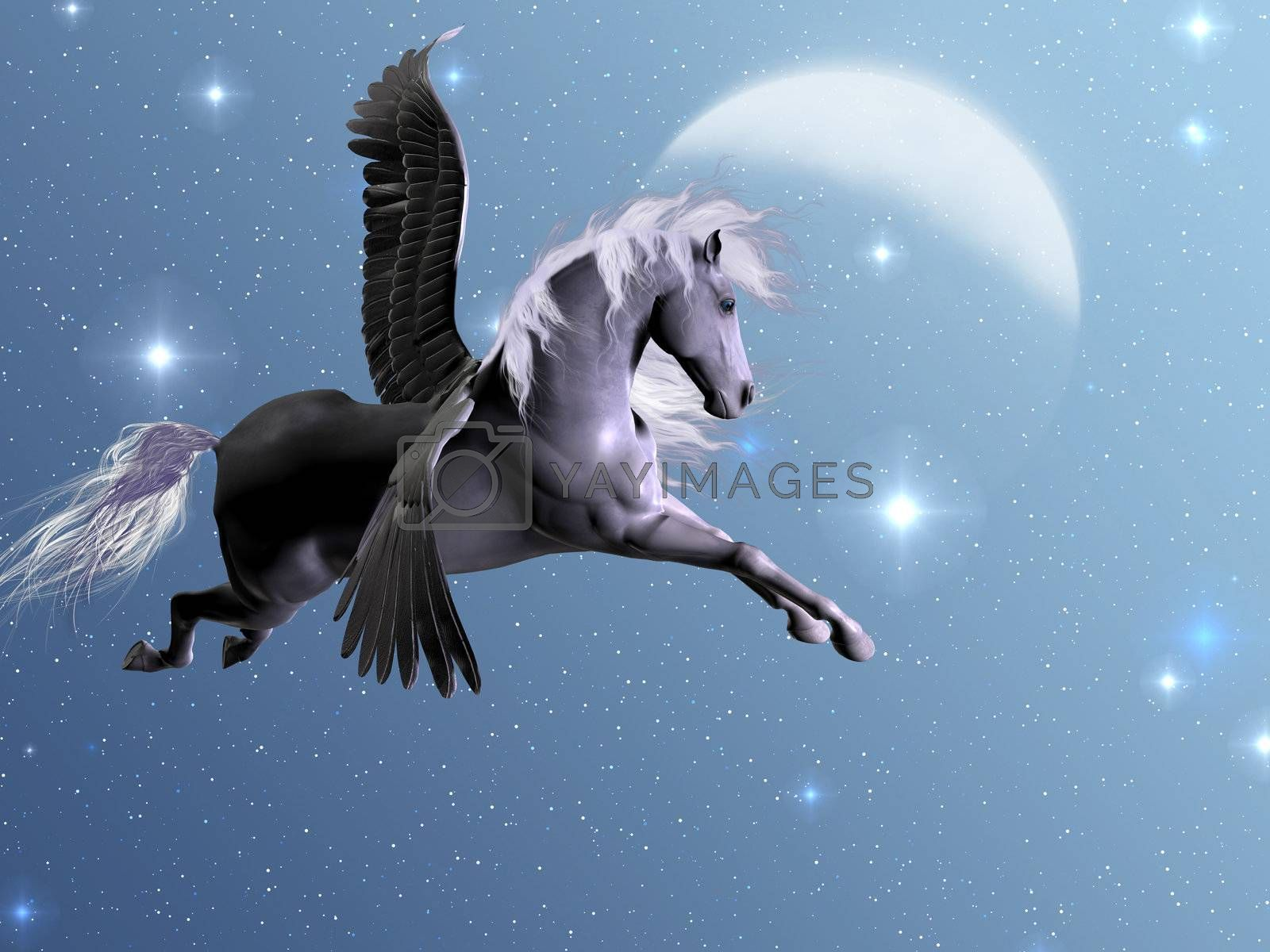 Silver Pegasus flies near the stars and the moon on a bright night.